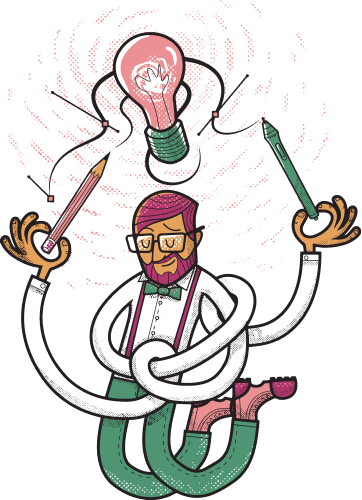Illustration of a man with long twisted arms holding pencils pointing at a light bulb above his head.